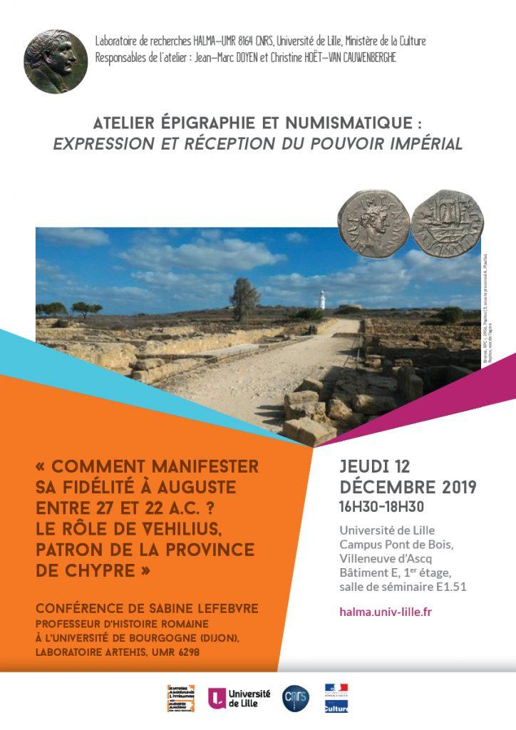 Affiche Atelier epigraphie numismatique conference S Lefebvre 12 decembre 2019 724x1024