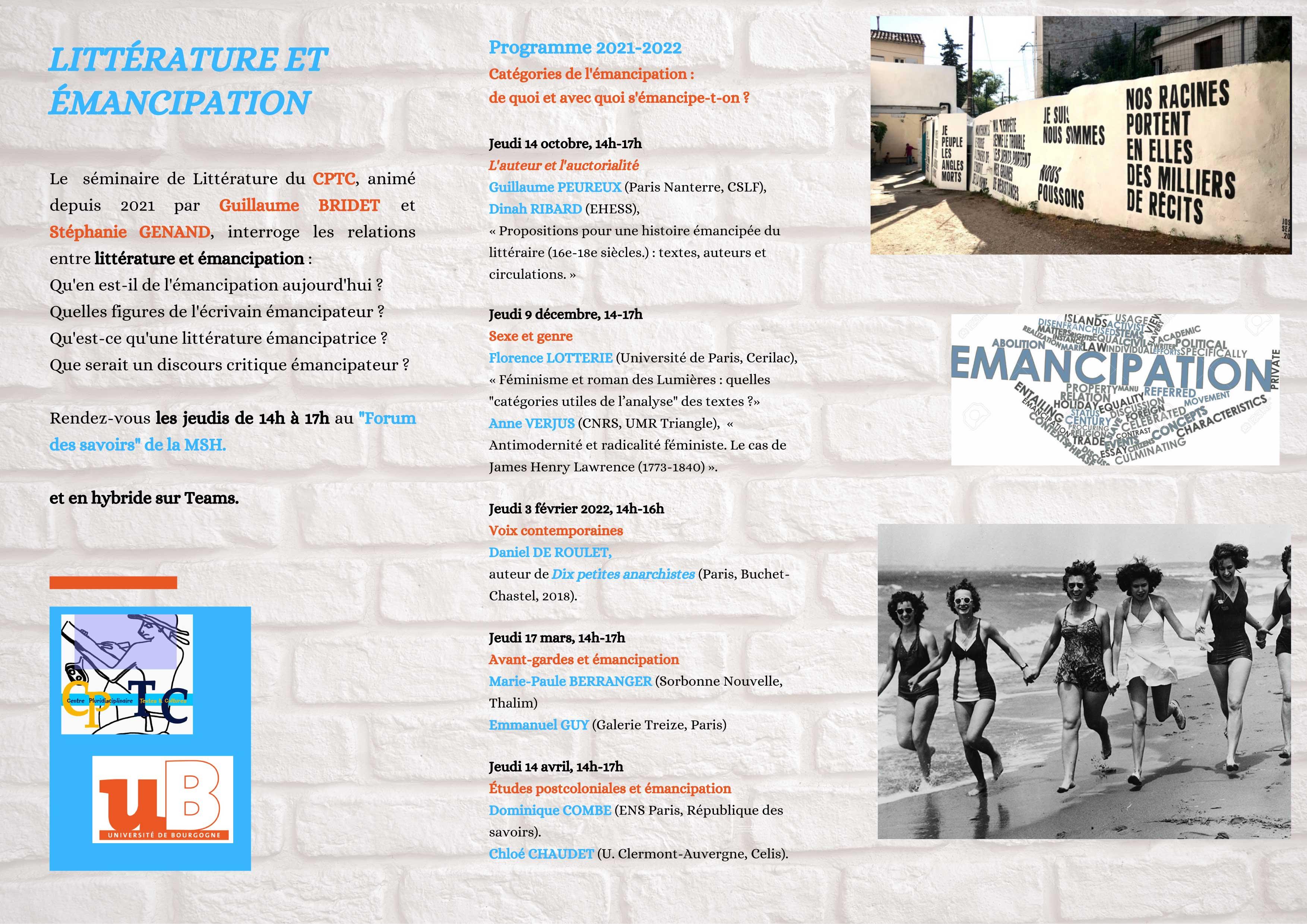 litterature et emancipationFlyer 2022