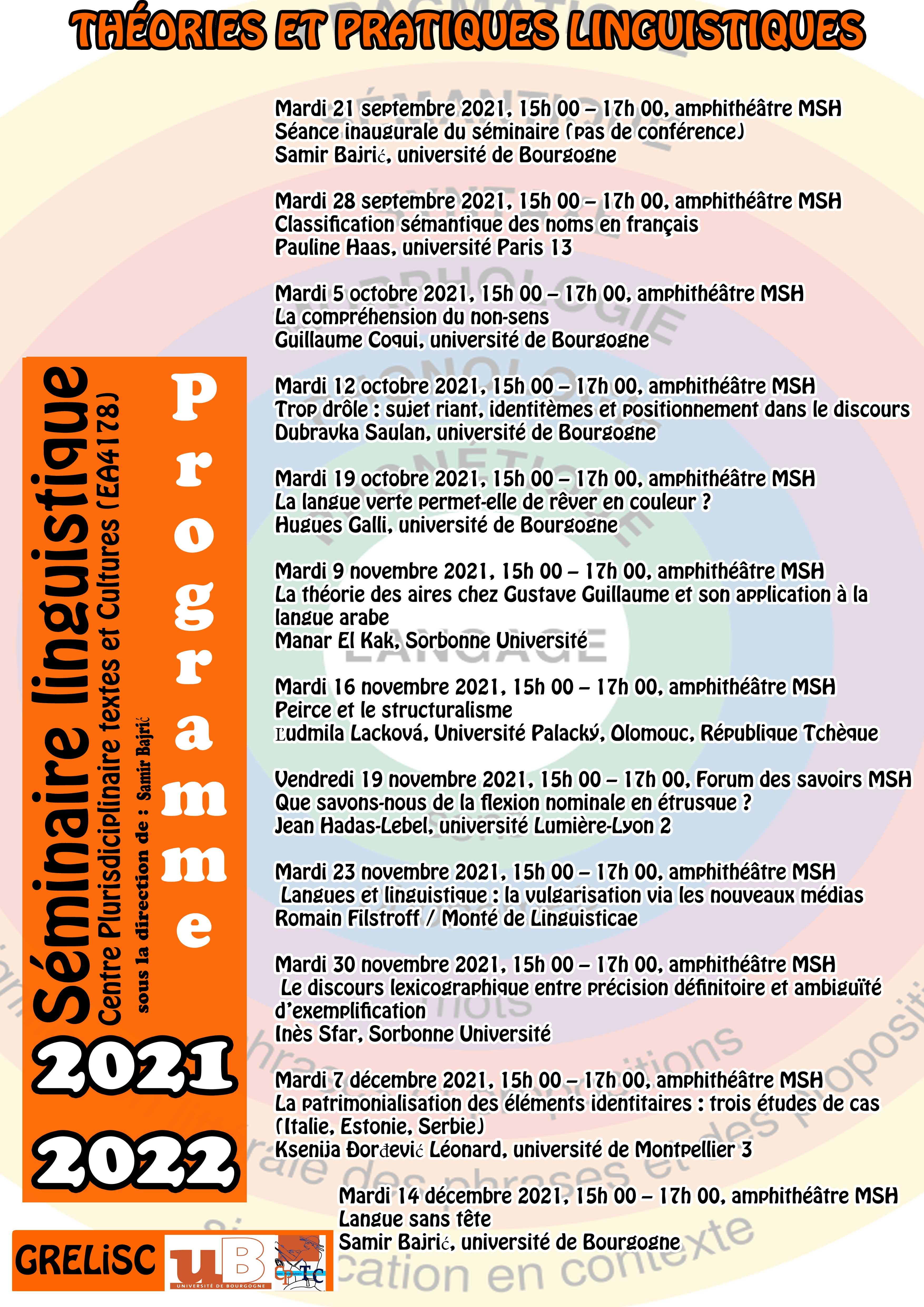 webprogramme seminaire linguistique