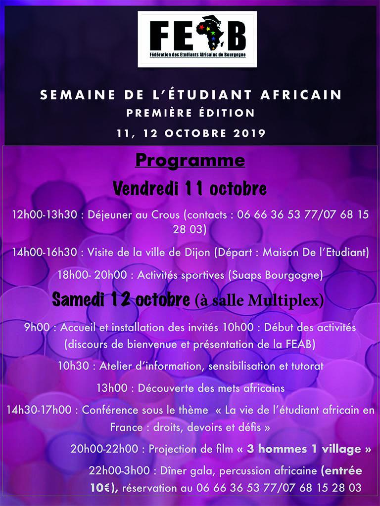 PI semaine etudiant africain programme